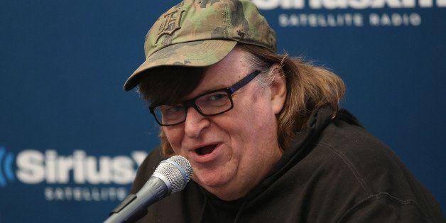 NEW YORK, NY - NOVEMBER 13:  Michael Moore visits at SiriusXM Studios on November 13, 2015 in New York City.  (Photo by Robin