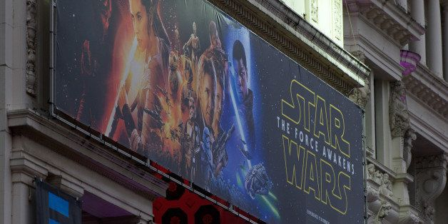 LONDON, ENGLAND - DECEMBER 15:  Star Wars promotional posters are setup in Leicester Square ahead of the European film premie