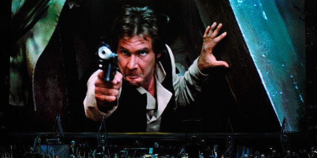 LAS VEGAS - MAY 29:  Actor Harrison Ford's Han Solo character from 'Star Wars Episode VI: Return of the Jedi' is shown on scr