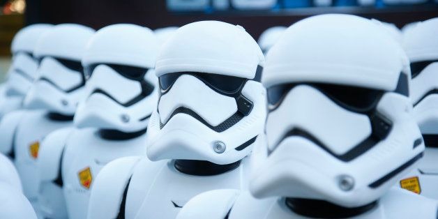 Over 100 JAKKS BIG-FIGS Stormtrooper action figures are seen as a part of an installation at The Americana at Brand for the o