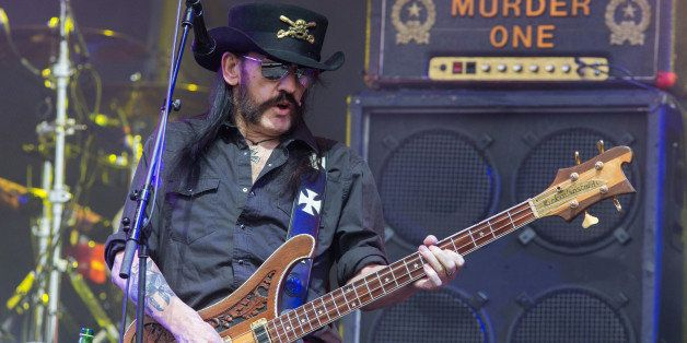 Motorhead bassist Lemmy Kilmister performs on the Pyramid stage during Glastonbury Music Festival on Friday, June 26, 2015 at