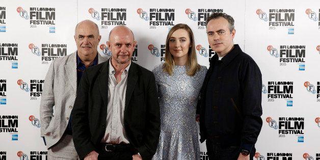 LONDON, ENGLAND - OCTOBER 12: (L-R) Novelist Colm Toibin, screenwriter Nick Hornby, actress Saoirse Ronan and director John C