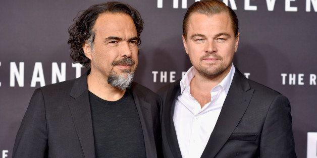 NEW YORK, NY - JANUARY 06:  Director Alejandro Gonzalez Inarritu (L) and actor Leonardo DiCaprio attend 'The Revenant' New Yo