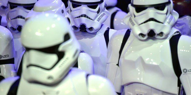 Storm troopers attend the European Premiere of 'Star Wars: The Force Awakens' in central London on December 16, 2015. Ever si