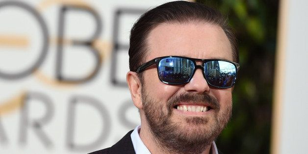 Ricky Gervais arrives at the 73rd annual Golden Globe Awards on Sunday, Jan. 10, 2016, at the Beverly Hilton Hotel in Beverly