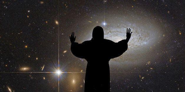 This NASA/ESA Hubble Space Telescope image shows the spiral galaxy with a statue of Christ in the foreground.