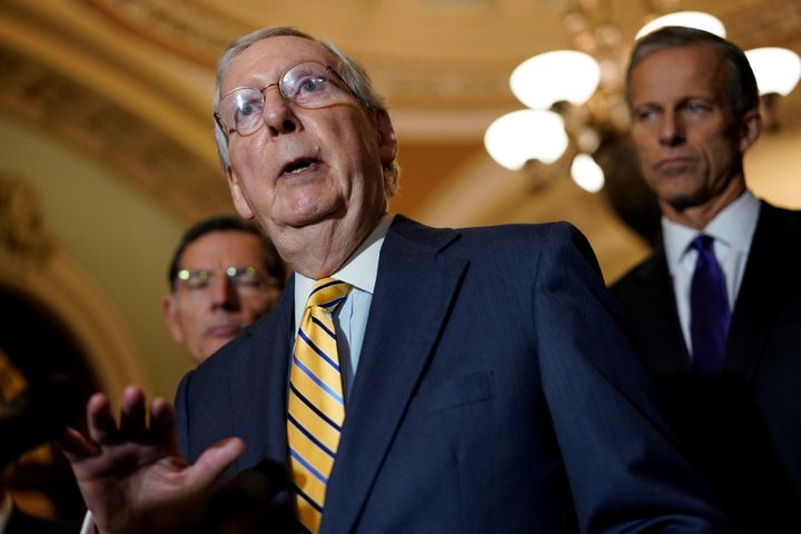 Senate Majority Leader Mitch McConnell said Wednesday that senators will not be scared by protesters who have been confrontin