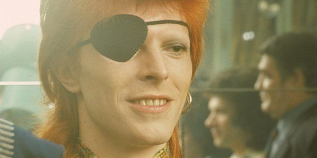 A portrait of David Bowie being interviewed wearing an eye patch at the Amstel Hotel on 7th February 1974 in Amsterdam, Nethe