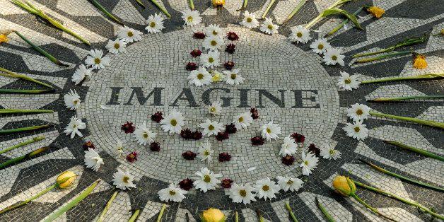 Memorial to John Lennon in Central park New York