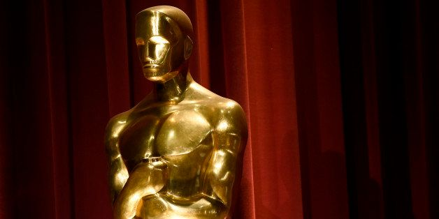 An Oscar statue is seen on stage at the 88th Academy Awards nomination ceremony on Thursday, Jan. 14, 2016, in Beverly Hills,