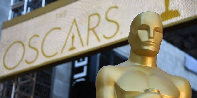 An Oscar statue is seen at the red carpet arrivals area as preparations continue for the 88th Annual Academy Awards at Hollyw