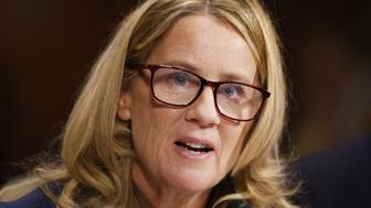 WASHINGTON, DC - SEPTEMBER 27: Dr. Christine Blasey Ford speaks before the Senate Judiciary Committee hearing on the nomination of Brett Kavanaugh to be an associate justice of the Supreme Court of the United States, on Capitol Hill September 27, 2018 in Washington, DC. A professor at Palo Alto University and a research psychologist at the Stanford University School of Medicine, Ford has accused Supreme Court nominee Judge Brett Kavanaugh of sexually assaulting her during a party in 1982 when they were high school students in suburban Maryland. (Photo By Michael Reynolds-Pool/Getty Images)