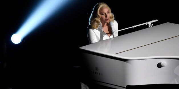 Lady Gaga performs at the Oscars on Sunday, Feb. 28, 2016, at the Dolby Theatre in Los Angeles. (Photo by Chris Pizzello/Invi
