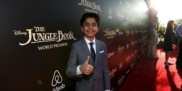 """Cast member Neel Sethi poses at the premiere of """"The Jungle Book"""" at El Capitan theatre in Hollywood, California April 4, 201"""