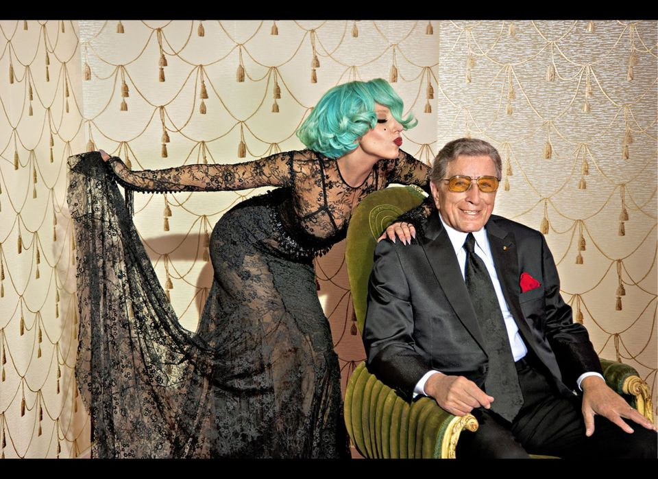 "Tony Bennett poses with Lady Gaga. The two sing ""The Lady Is a Tramp"" for his <i>Duets II</i> album."