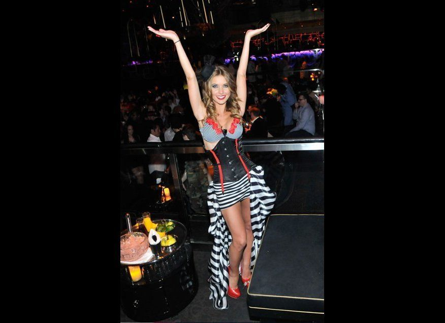 Audrina Patridge rocks this sexy pirate look to judge a halloween costume contest at The Bank Nightclub in Las Vegas.