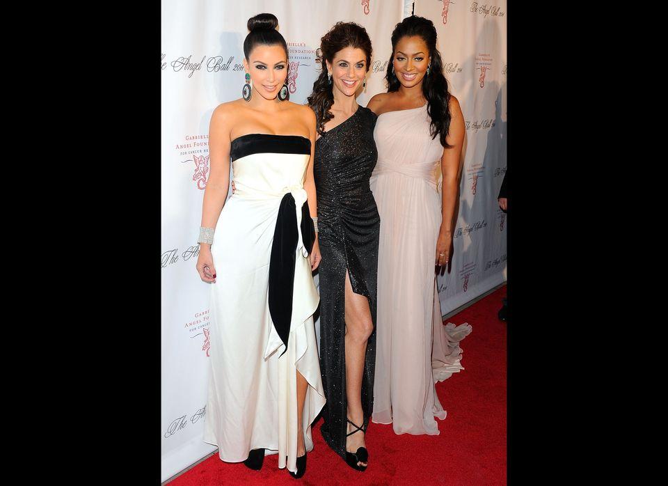 Kim Kardashian with Samantha Harris and La La Anthony at the 2011 Angel's Ball