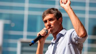 US Representative Beto O'Rourke (D-TX) speaks during a campaign rally in Plano, Texas, on September 15, 2018. (Photo by Laura Buckman / Laura Buckman/AFP / AFP) / With AFP Story by Michael MATHES:  Fueled by Beto fever, Democrats battle to turn Texas blue        (Photo credit should read LAURA BUCKMAN/AFP/Getty Images)