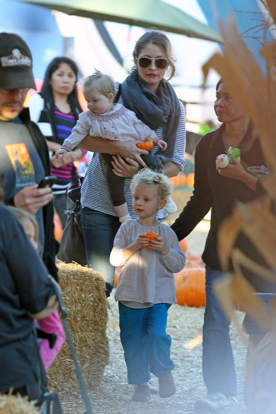 Eric Dane's wife took their daughters, Billie and Georgia, to Mr. Bones Pumpkin Patch for some Halloween fun in Los Angeles,