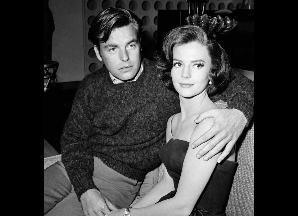 "In a Nov. 25, 1959 file photo, Natalie Wood and her husband Robert Wagner are made up for their roles in ""All The Fine Young"
