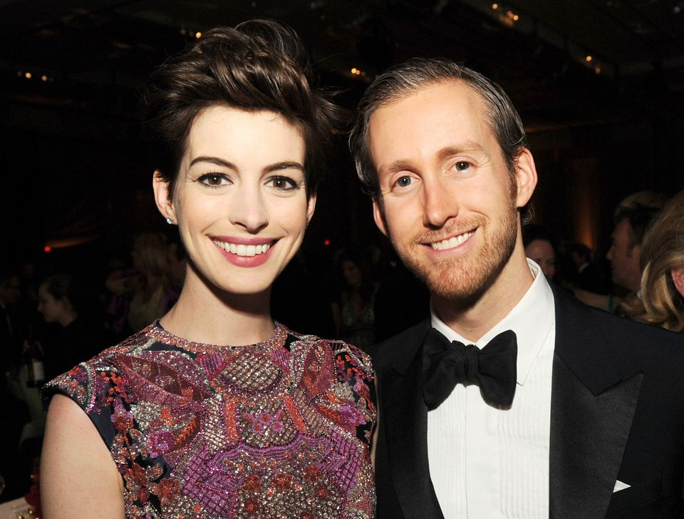 LOS ANGELES, CA - FEBRUARY 02:  Actress Anne Hathaway (L) and actor Adam Shulman attend the 65th Annual Directors Guild Of Am