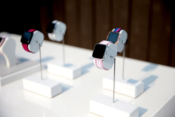 Fitbits on display in Los Angeles, California, on July 28, 2018.