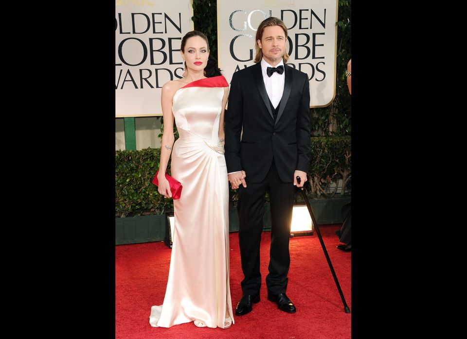 BEVERLY HILLS, CA - JANUARY 15:  Actors Angelina Jolie and Brad Pitt arrive at the 69th Annual Golden Globe Awards held at th