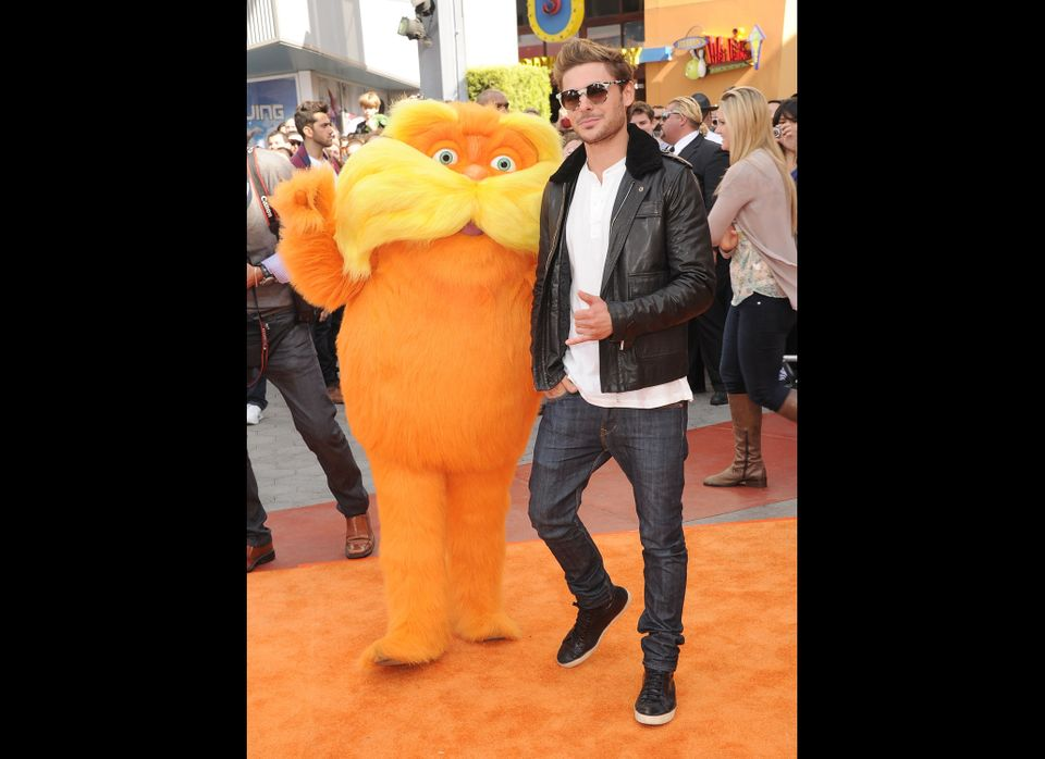 Actor Zac Efron arrives at the 'Dr. Suess' The Lorax' Los Angeles premiere at Universal Studios Hollywood on February 19, 201