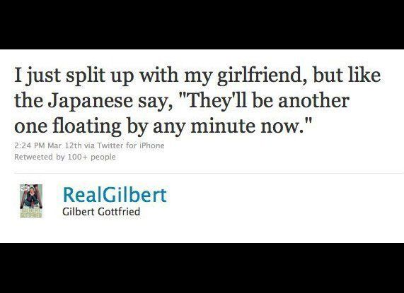 "Comedian Gilbert Gottfried apologized for his <a href=""http://www.huffingtonpost.com/2011/03/14/gilbert-gottfried-tweets-_n_8"