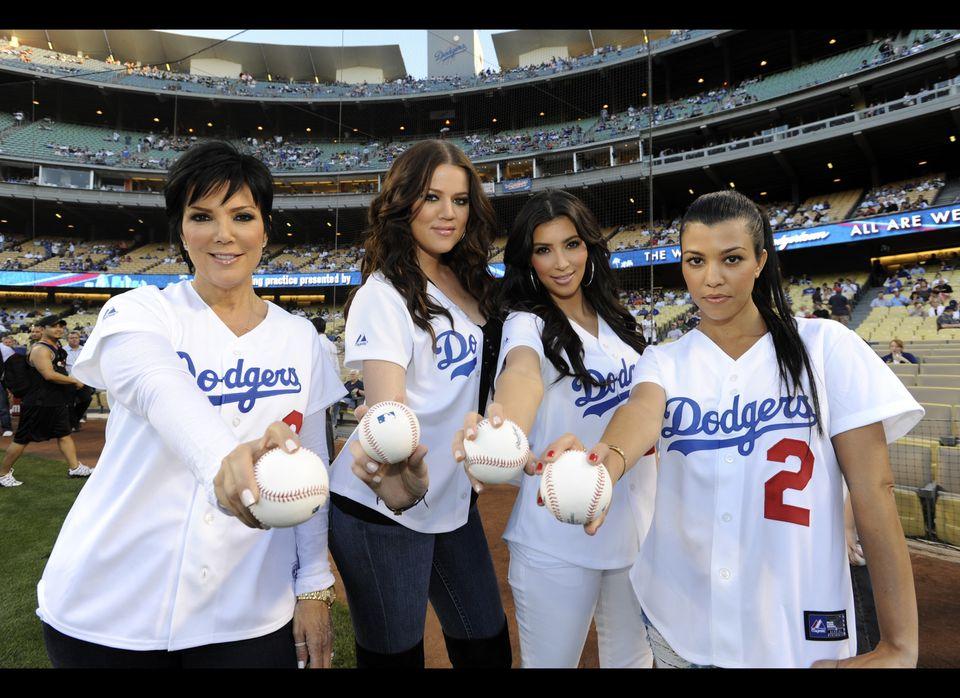 Kris Jenner, Khole Kardashian, Kim Kardashian and Kourtney Kardashian threw out ceremonial first pitches prior to the game be