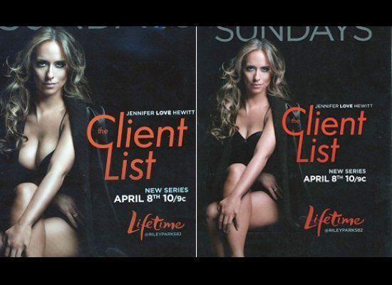 "Jennifer Love Hewitt's ample bust virtually vanished via photoshop in one version of an advertisement for ""The Client List:"