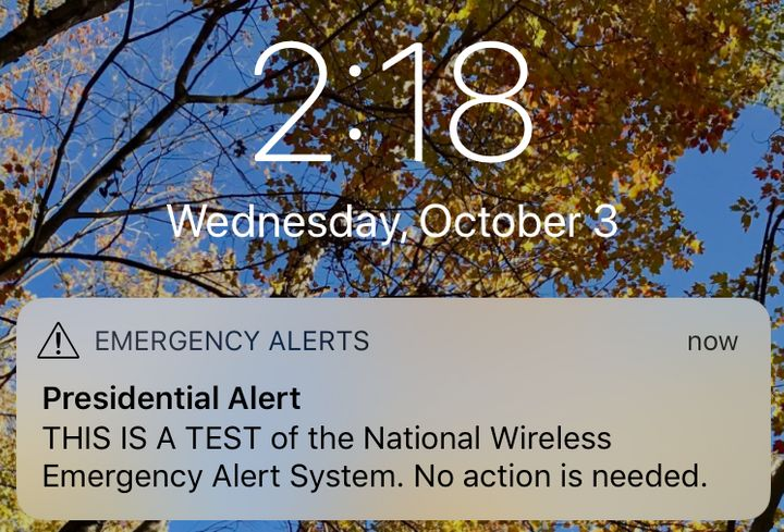 The Federal Emergency Management Agency tested its first wireless alert system on Wednesday.