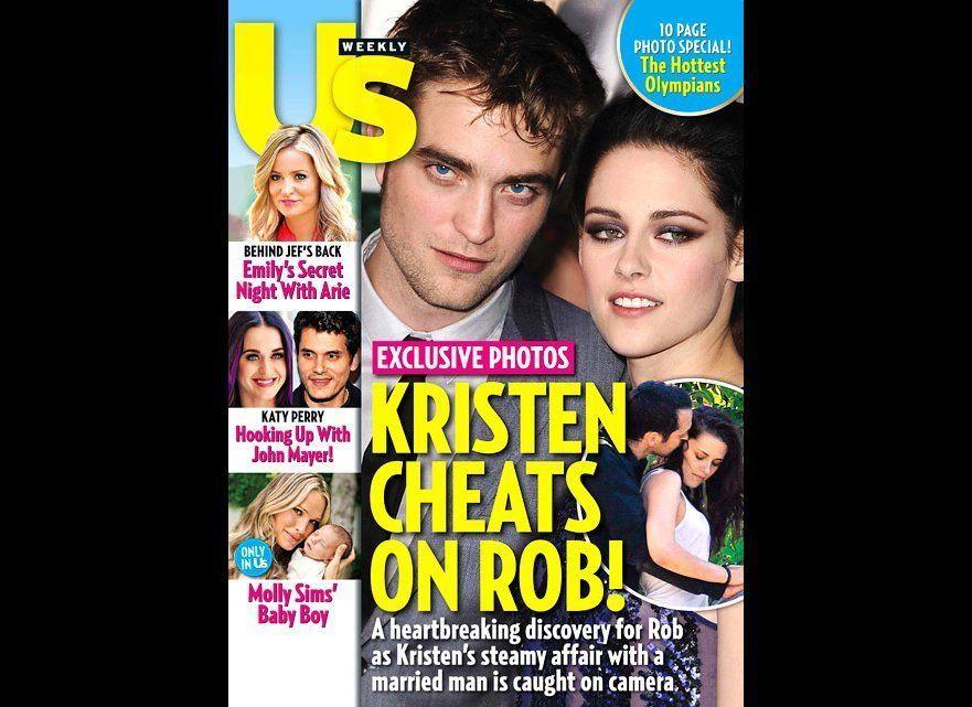 """Kristen Stewart was caught cheating on boyfriend of four years, Robert Pattinson when <a href=""""http://www.usmagazine.com/cele"""