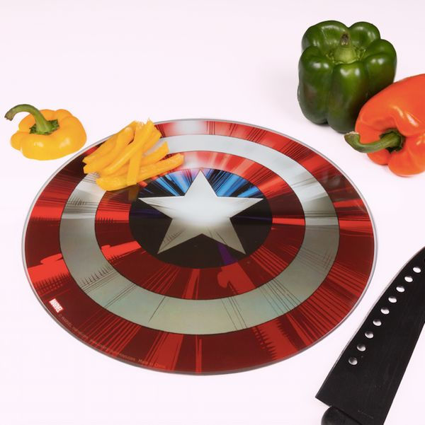 "No, this cutting board made to look like <a href=""https://www.amazon.com/Marvel-Avengers-Captain-America-Cutting/dp/B01LY0WM4"