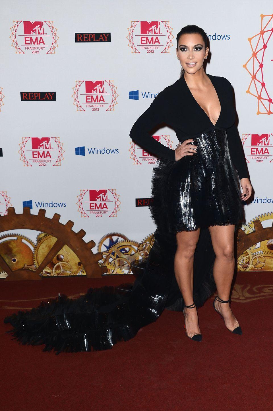 FRANKFURT AM MAIN, GERMANY - NOVEMBER 11:  Kim Kardashian attends the MTV EMA's 2012 at Festhalle Frankfurt on November 11, 2