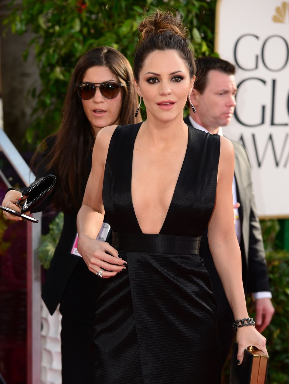 Actress Katharine McPhee arrives for the Golden Globe Awards in Beverly Hills on January 13, 2013. AFP PHOTO / Frederic J. BR