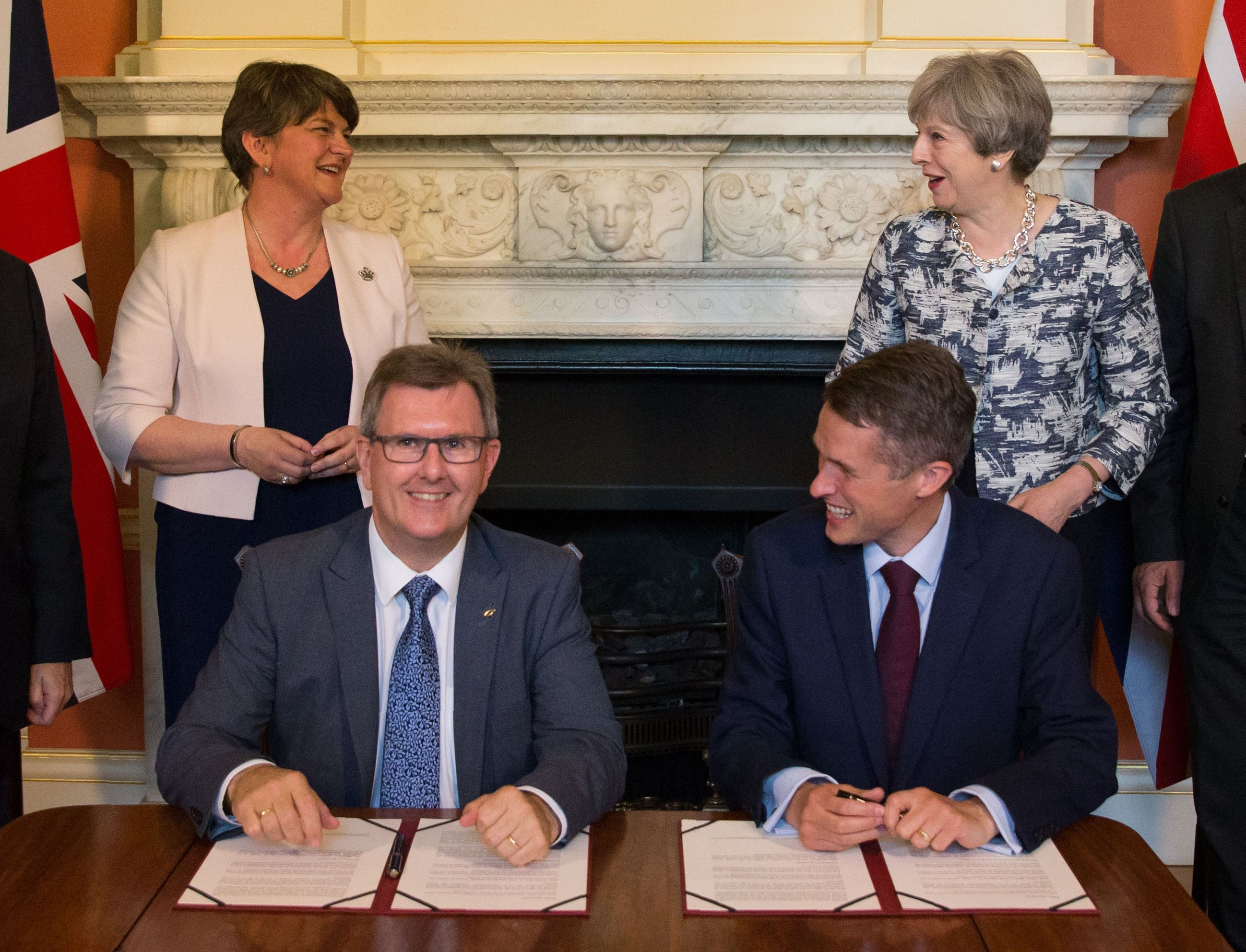 PA Archive  PA Images               DUP leader Arlene Foster Chief Whip Sir Jeffrey Donaldson then Chief Whip Gavin Williamson and Theresa May