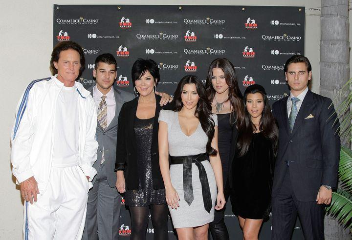 LOS ANGELES, CA - NOVEMBER 03:  (L-R) Bruce Jenner, Robert Kardashian, Kris Jenner, Kim, Khloe, Kourtney Kardashian and Scott