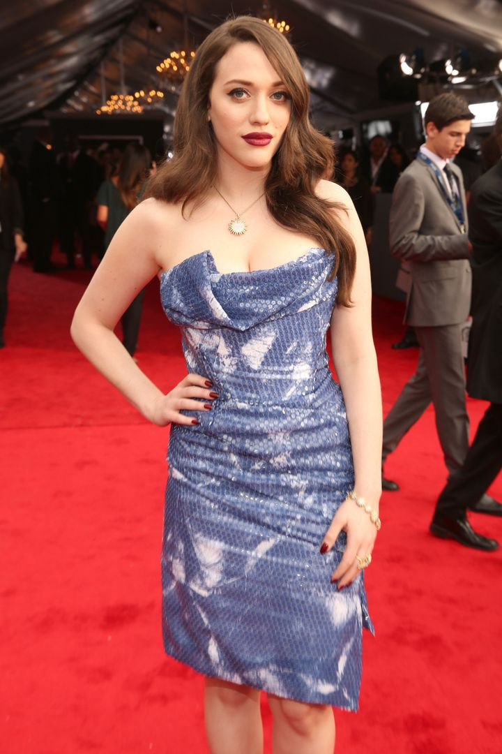 LOS ANGELES, CA - FEBRUARY 10:  Actress Kat Dennings attends the 55th Annual GRAMMY Awards at STAPLES Center on February 10,
