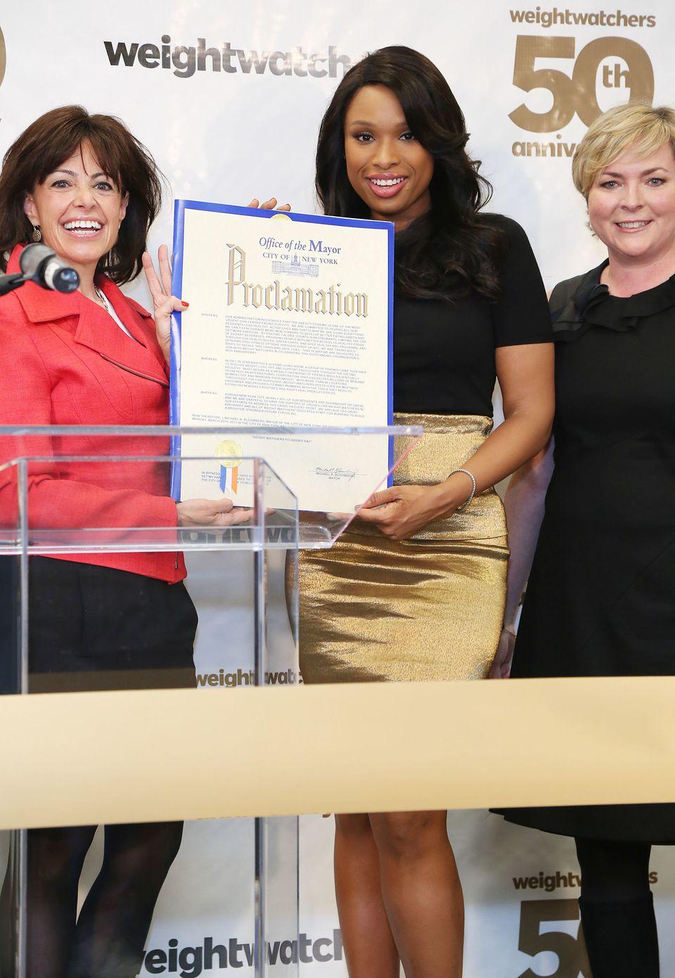 NEW YORK, NY - MARCH 25:  (L-R) Andrea Shapiro Davis, Jennifer Hudson and Cheryl Callan attend Weight Watchers Founder Celebr