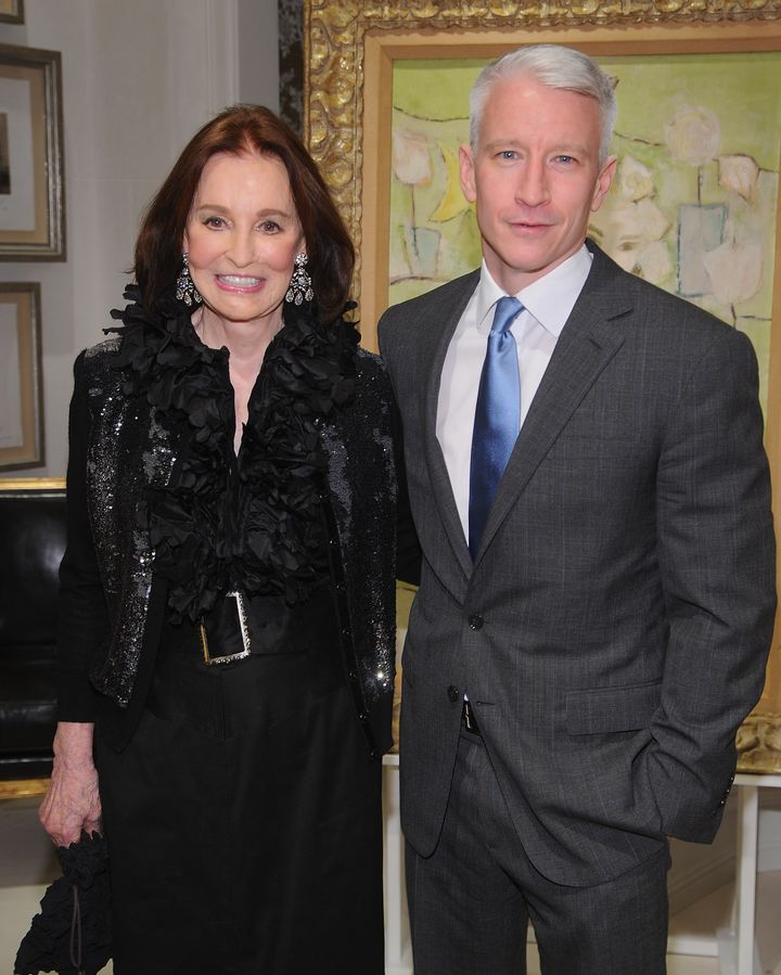 NEW YORK - NOVEMBER 04:   Gloria Vanderbilt and Anderson Cooper attend the launch party for 'The World Of Gloria Vanderbilt'