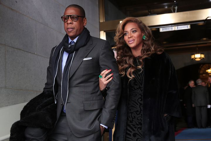 Recording artists Jay-Z and Beyonce arrive at the presidential inauguration on the West Front of the US Capitol January 21, 2