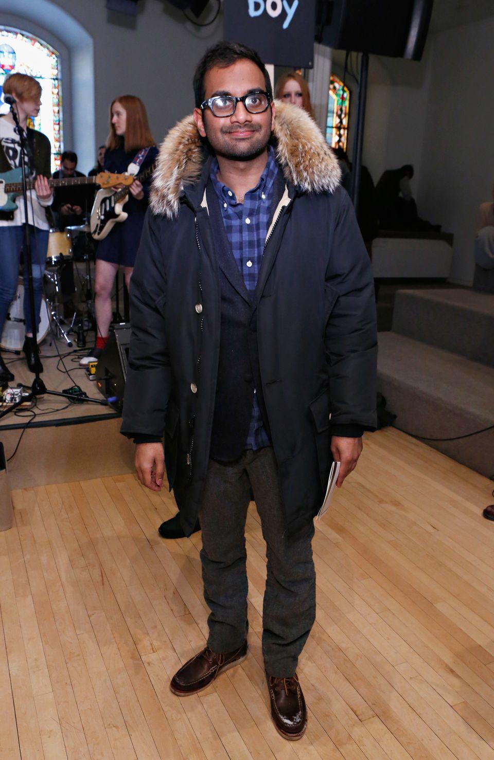 NEW YORK, NY - FEBRUARY 09:  Comedian/ actor Aziz Ansari attends the Chloe Sevigny for Opening Ceremony fall 2013 fashion sho