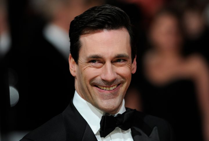 US actor John Hamm poses on the red carpet arriving at the BAFTA British Academy Film Awards at the Royal Opera House in Lond