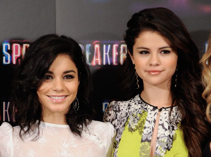 MADRID, SPAIN - FEBRUARY 21:  (L-R) Vanessa Hudgens and Selena Gomez attend a photocall for Spring Breakers at the Villamagna