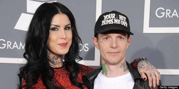 LOS ANGELES, CA - FEBRUARY 10:  deadmau5 and Kat Von D arrives at the The 55th Annual GRAMMY Awards on February 10, 2013 in L