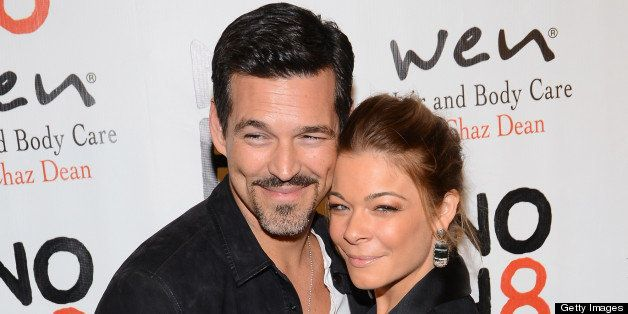HOLLYWOOD, CA - DECEMBER 12: Eddie Cibrian and LeAnn Rimes arrive at the NOH8's 4th Anniversary celebration at Avalon on Dece