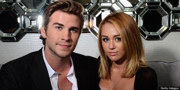 CENTURY CITY, CA - JUNE 27: (EXCLUSIVE ACCESS SPECIAL RATES APPLY) Actor Liam Hemsworth and singer Miley Cyrus pose during Australians In Film Awards & Benefit Dinner at InterContinental Hotel on June 27, 2012 in Century City, California. (Photo by Michael Buckner/Getty Images for AIF)