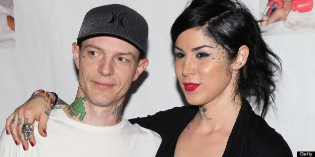 BEVERLY HILLS, CA - MAY 14:  Musician Joel Zimmerman aka deadmaus (L) and TV personality Kat Von D attend a Niecy Nash signin