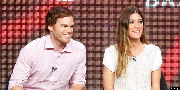LOS ANGELES, CA - JULY 30:  (L-R) Actors Michael C. Hall and Jennifer Carpenter speak at the 'Dexter' discussion panel during